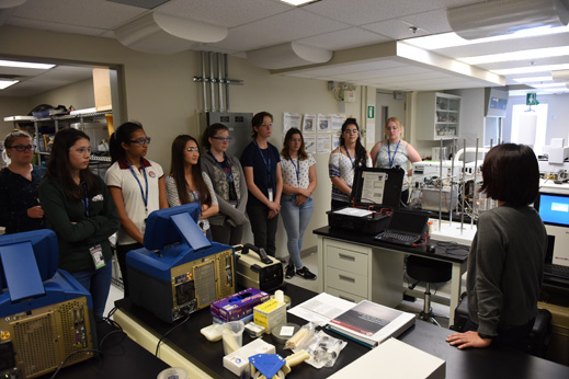 Supporting and promoting diversity across the agency cbsa participants gather at the laboratory listening to a presentation from a scientist during the young women in public safety initiative malvernweather Gallery