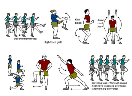 The diagram shows a number of warm-up exercise and stretching, such as skipping, high knee pulls, kick backs and jump and jacks.