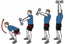 A person is performing a Dumbbell Swing.