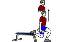 A person is performing a One Leg Split Squat with Dumbbells.