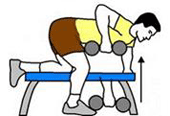 A person is performing a Dumbbell Row.