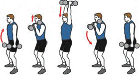 A person is initiating a Dumbbell Biceps Hammer Curl and Shoulder Over Head Press. A person is ending a Dumbbell Biceps Hammer Curl.