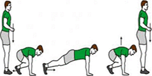 A person is completing an exercise called Burpees. A person is completing an exercise called Burpees.