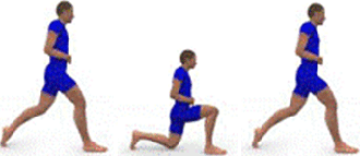 A person is starting a Walking Lunge. A person is performing a Waling Lunge. A person is starting another Walking Lunge.