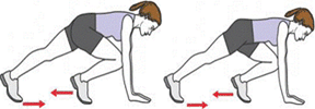 A person is starting a Mountain Climber with the right knee in front. A person is completing a Mountain Climber with the left knee in front.
