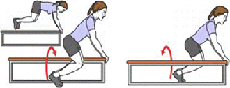 A person is completing a Side Jump Holding Bench. A person is completing a Side Jump Holding Bench.