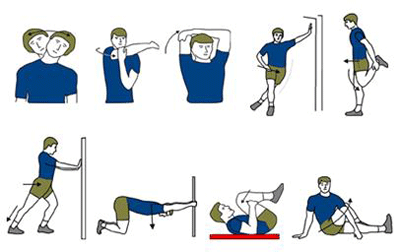 The diagram shows a number of stretches for various body parts that include, the back, neck, calves, shoulders and hips.