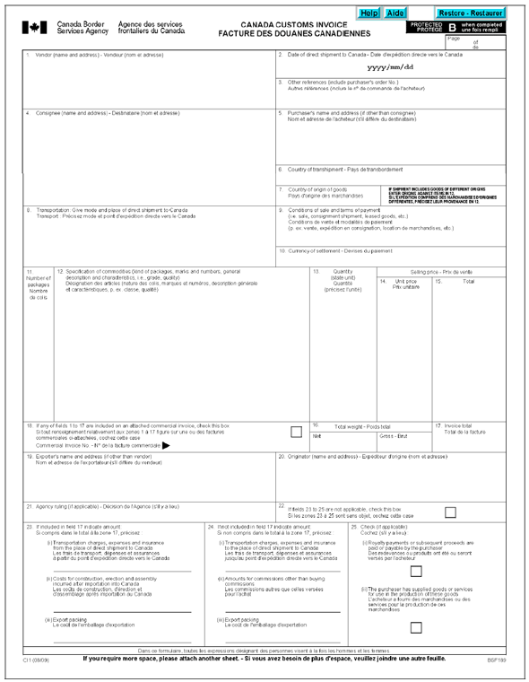form ci1 canada customs invoice page 1 of 1