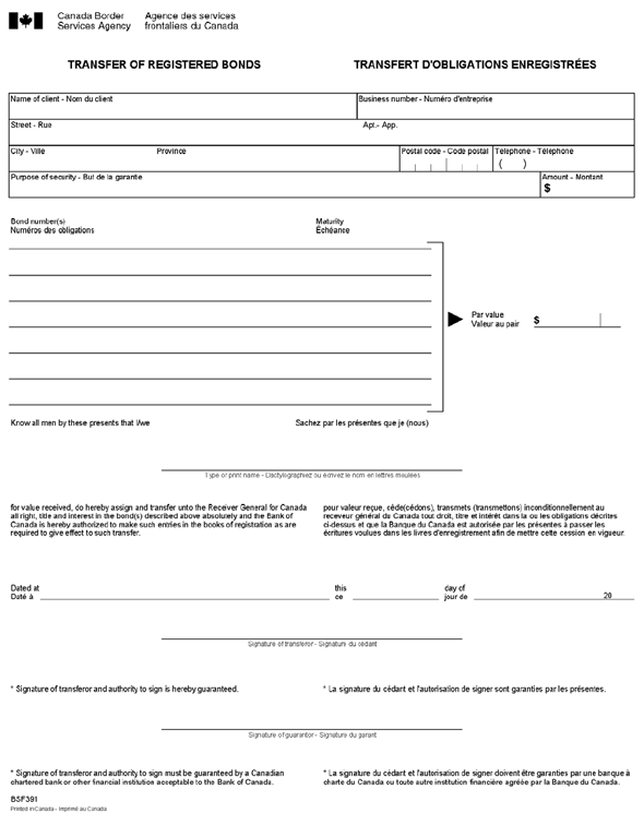 Appendix A - Form BSF391, <i>Transfer of Registered Bonds</i>, page 1 of 1