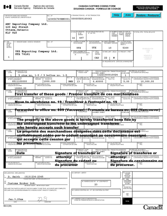 Memorandum D17-1-10 - Coding of Customs Accounting Documents