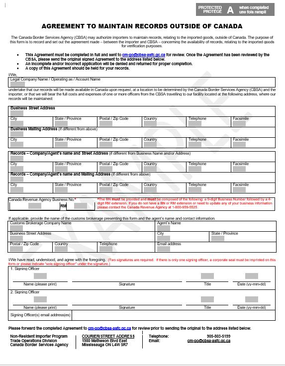 Memorandum D17-1-21 - Maintenance of Records in Canada by Importers