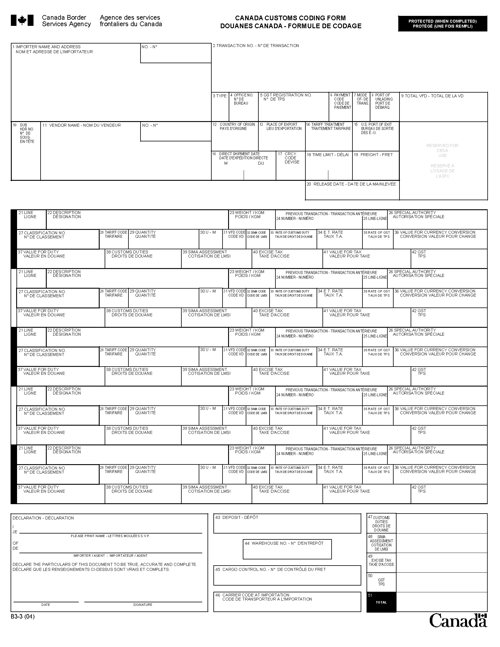 Memorandum D Registration Accounting And Payment For - Canadian customs invoice template