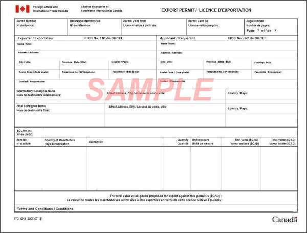 Sample - Form EXT 1042, Application for Permit to Export Goods