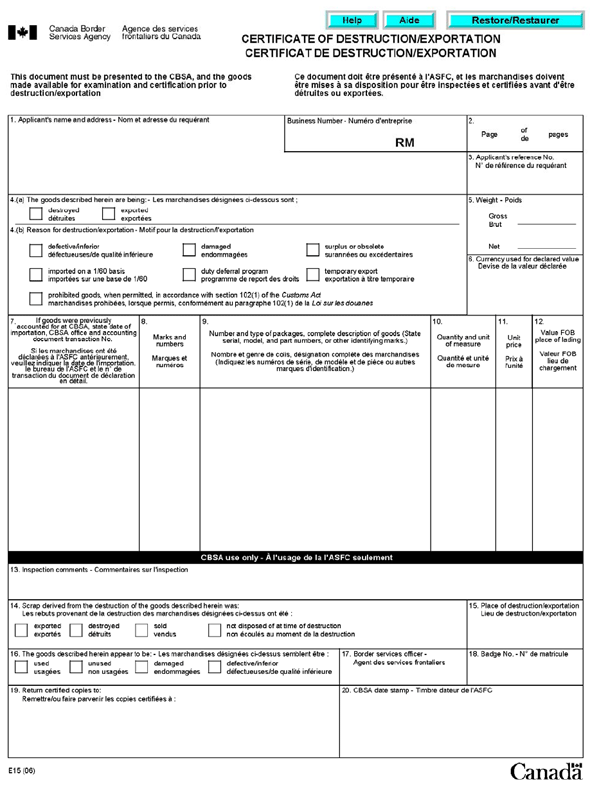 Memorandum D2014 Proof of Export Canadian Ownership and – Goods Receipt Form