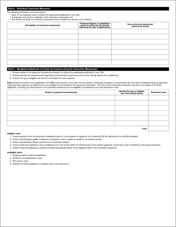 Sample of Form BSF266, Penalty Reinvestment Agreement (PRA) Application Form - Page 2