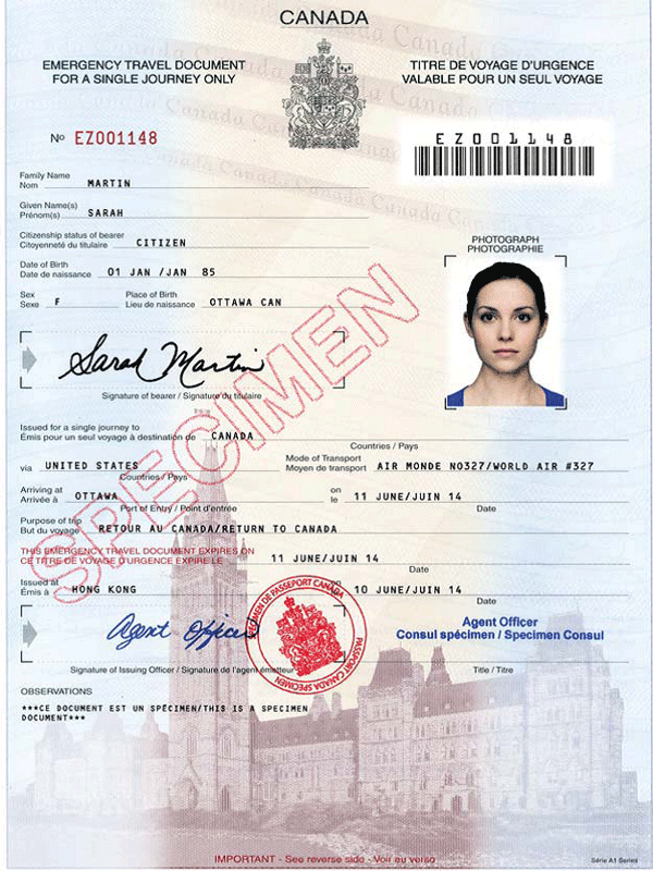 Travel Document Number Canada